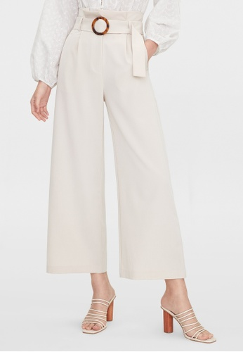 Pomelo beige Paper Bag Belted Pants - Cream FC1F1AAE353978GS_1