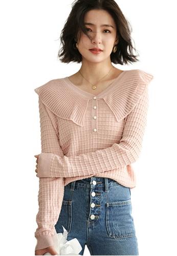 Sunnydaysweety 粉紅色 歐根紗拼接V領針織上衣 A092206PI 8F10BAA45F7C95GS_1