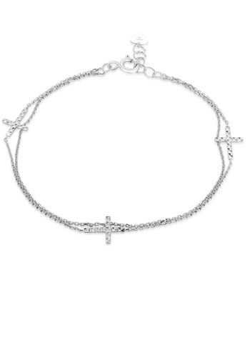 MaBelle silver 14K 585 White Gold Diamond Cut Cross Double Chain Bracelet 256C2AC3FCBD49GS_1