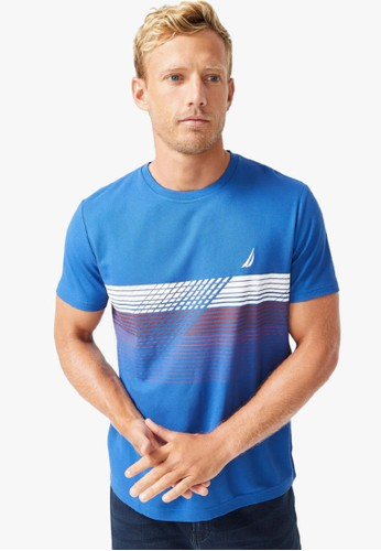 Nautica blue Sustainably Crafted Navtech Graphic T-Shirt CFAD1AA40D18BBGS_1