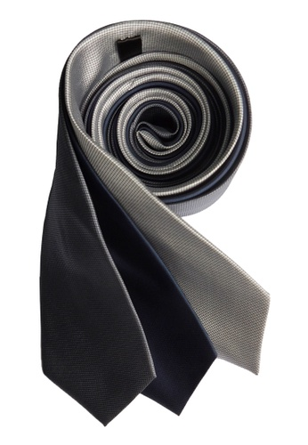 Well Suited grey and blue and silver Three Piece Microcheck Necktie Combo 1 023EBAC350B2EDGS_1