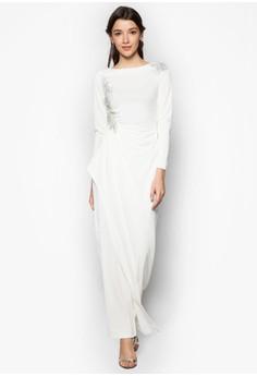Applique Lace Cascade Drape Dress