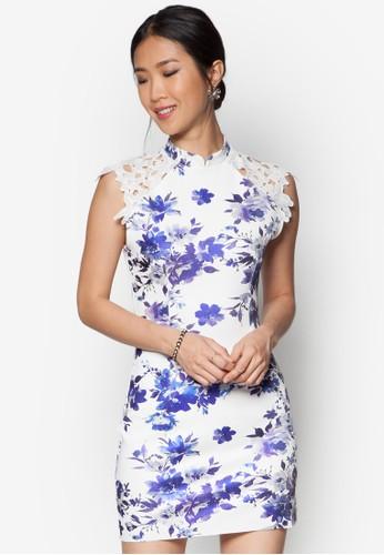 蕾絲拼肩花卉洋裝, 服飾, 緊zalora 台灣身洋裝