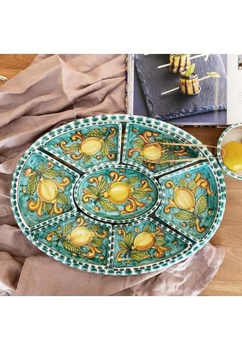 Living DNA Lemon Ceramic 8pc Chip and Dip Platter Turquoise B7059HL2A3C7DEGS_1