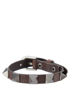 Men's Wristband With Pyramid Studs