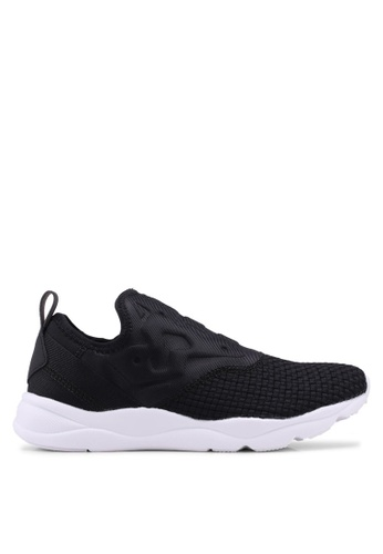 Reebok black Furylite Woven Slip On Shoes B0CD6SHC7A4E60GS_1