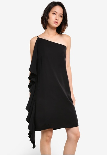 ZALORA black Side Frill Dress C3B90AA3F183F0GS_1