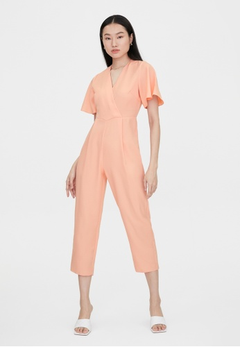 Pomelo orange Butterfly Sleeves V Neck Jumpsuit - Peach 64C86AA1FB42A2GS_1