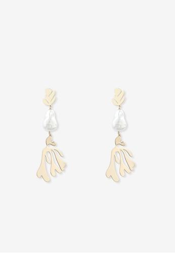 Pomelo multi Leaf Pearl Drop Earrings - Gold 81682AC4FE8049GS_1