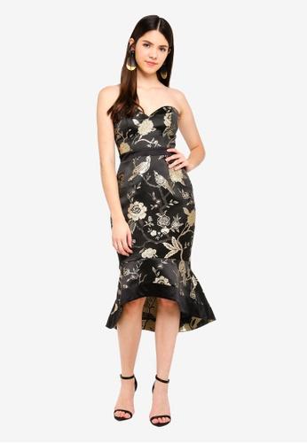 Lipsy black Oriental Jacquard Bandeau Dress 7D40AAAFE2E481GS_1