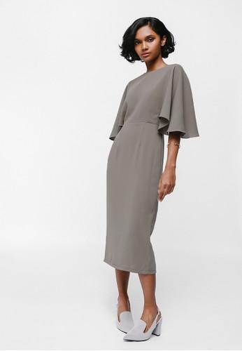 Love, Bonito brown Merenia Cape Sleeve Midi Dress ADA27AAE420C0EGS_1