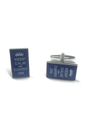 Splice Cufflinks Royal Blue Keep Calm & Carry on Cufflinks SP744AC14ACBSG_1