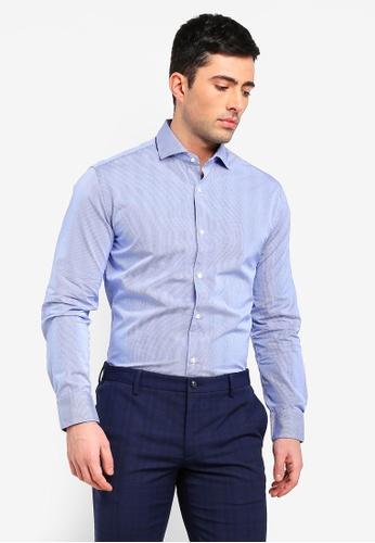 MANGO Man 藍色 格紋襯衫 7DF8DAA9910398GS_1