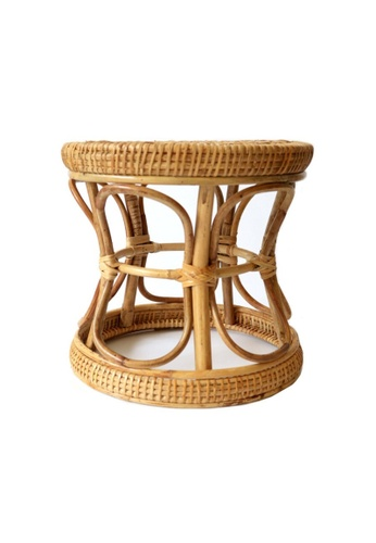 Propstation Rustic Boho Braided Curved Woven Rattan Stool and Pot Planter 5E84AHL135C081GS_1