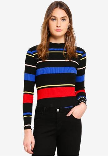 Dorothy Perkins 黑色 Black Multi Stripe High Neck Top 95B84AA8506EF1GS_1