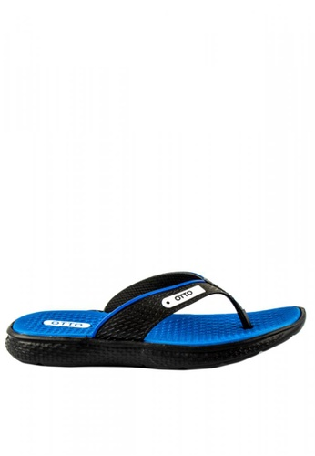 Otto blue Textured Slippers C5837SHE2739BAGS_1
