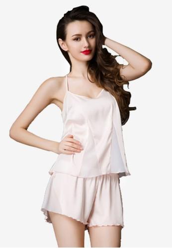 綢緞zalora 泳衣細肩帶短褲睡衣套裝, 服飾, 睡衣套裝