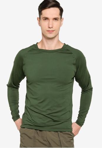 ZALORA ACTIVE 綠色 Fitted 長袖T-襯衫 13F78AAEE6247EGS_1