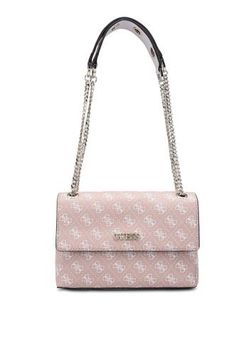 Guess white and pink Washington Convertible Crossbody Bag 03CCDAC7479C78GS_1