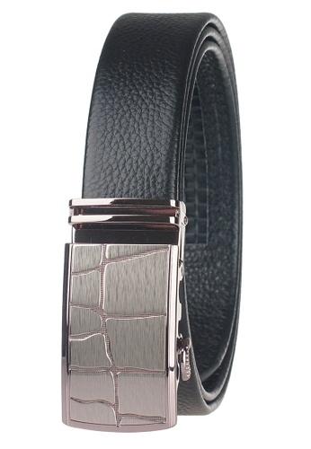 FANYU black Leather Dress Belt With Automatic Buckle 13CA7AC8BA8EF0GS_1