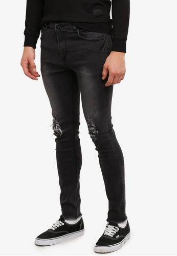 Flesh IMP black Knee Torn Cooper Denim Jeans FL064AA0RTP9MY_1