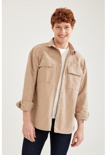 DeFacto brown Long Sleeve Cotton Shirt 33CB5AAE735028GS_1