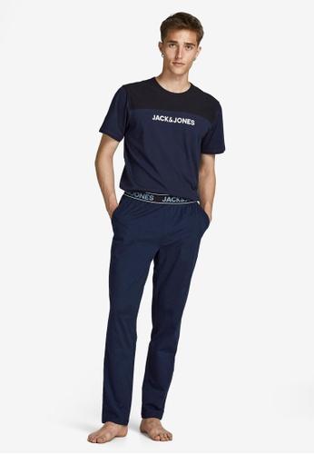Jack & Jones navy 2-Piece Cotton Loungewear Set 1C9ABAA3718E71GS_1