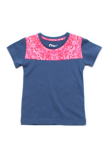 Mini Moley blue Floral Print Panel Boy's T-Shirt DDD5DKA8C73E36GS_1