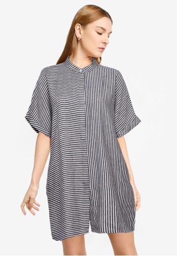 The Duo navy Stripe Shirt Dress EEF8FAA50BC038GS_1