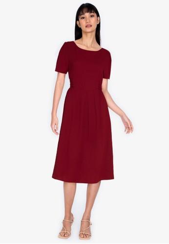 ZALORA BASICS red V-Back Short Sleeve Midi Dress 60CF1AAD09B759GS_1