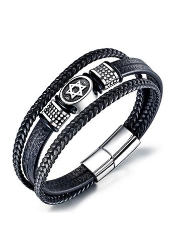 YOUNIQ black YOUNIQ The Star of David Hero Titanium Steel Three Layer Black Genuine Leather Men Bracelet 09CFEAC8655C70GS_1