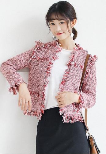 Shopsfashion red Classic Tweed Blazer in Red SH656AA0G4VFSG_1