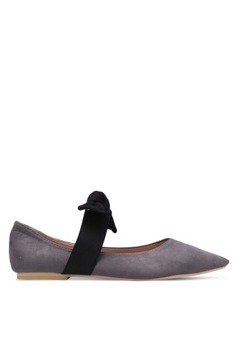 Velvet grey Bow Tie Pointed Toe Flats CE918SHDA687FBGS_1