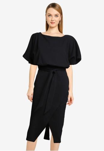 Quiz black Black Belted Dress FD232AAB0AD66AGS_1