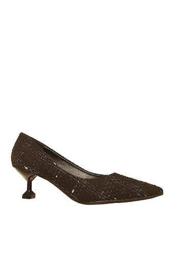 Twenty Eight Shoes 黑色 格子布中跟鞋 VL28025 79E84SH4328F0DGS_1