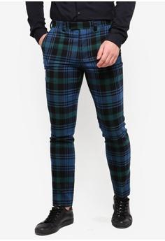 58efd67bc46 Topman blue Blue Check Skinny Trousers E0E38AA6164D40GS 1