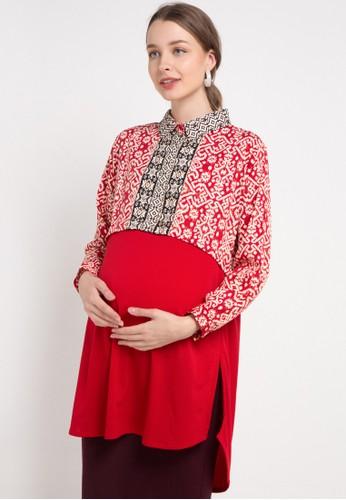 ELSY'S red Long Sleeve Blouse 43B70AAE99874FGS_1