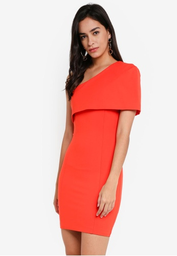 Lavish Alice orange One Shoulder Cape Mini Dress LA457AA0SSQKMY_1
