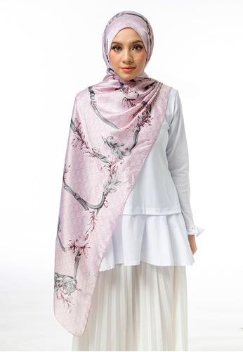 FATIMÉ grey and pink Satin Shawl Scarf Morning Glory (Pink) 64ABBAA1028B90GS_1