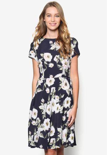 花卉側繫帶傘擺洋裝, 韓系時尚, esprit tw梳妝