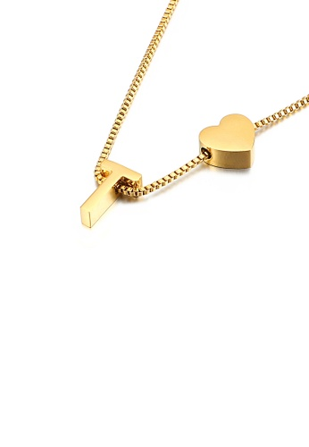 Glamorousky silver Fashion and Simple Plated Gold Heart-shaped English Alphabet T 316L Stainless Steel Pendant with Necklace 77537AC9332087GS_1