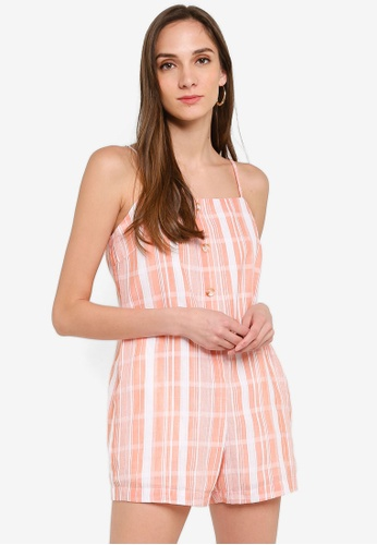 Mink Pink white and pink Stripe Playsuit A5B01AA4584F40GS_1