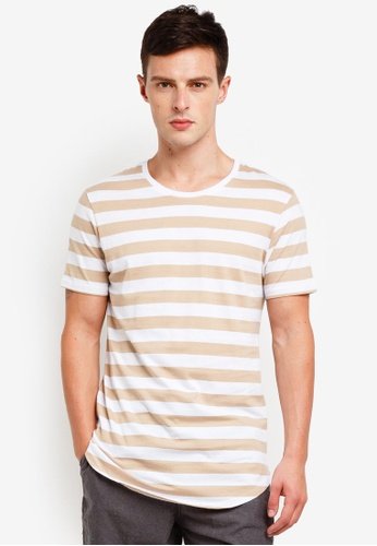 Factorie 多色 Curved Stripe T Shirt 2F6A8AACF4AE7AGS_1