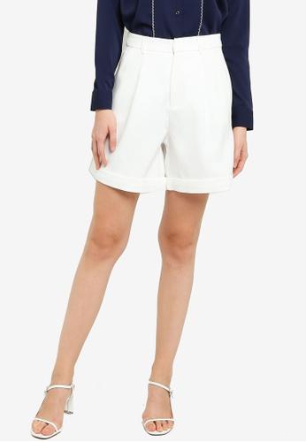 ZALORA WORK white High Waist Shorts 3F1E4AAB62FDB4GS_1