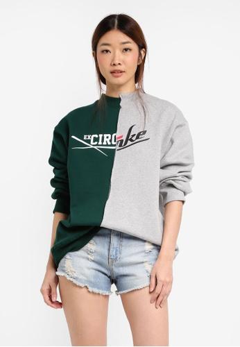 Stylenanda green Half And Half Graphic Sweatshirt ST343AA0SXK5MY_1