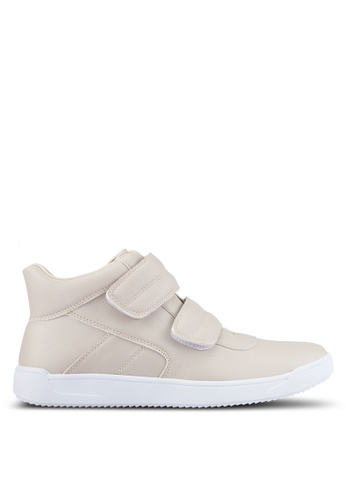 ZALORA beige Faux Leather High Top Sneakers 69A02SH8BBC8ECGS_1