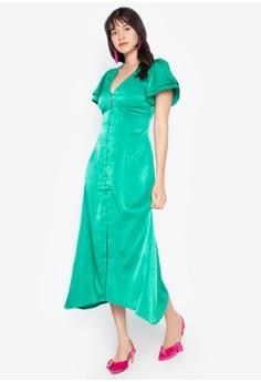 b8e1175d WAREHOUSE green Satin Frill Sleeve Tea Dress 8A681AA9A2279DGS_1