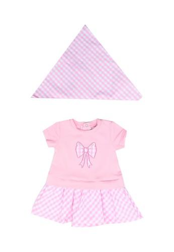 Babybol pink Baby's Dress And Headscarf 152CBKAF8F32D9GS_1
