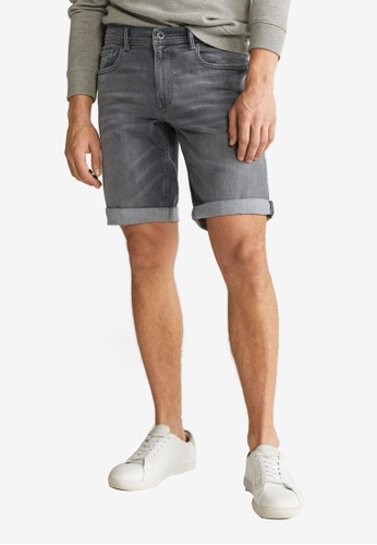 Mango Man grey Grey Wash Denim Bermuda Shorts C237CAA26508B3GS_1