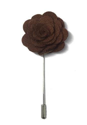 Splice Cufflinks brown Dark Brown Classic Camellia Fabric Flower Lapel Pin SP744AC59UCMSG_1